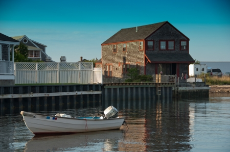 cape cod style: Homes over Water on Nantucket Coastline, Massachusetts