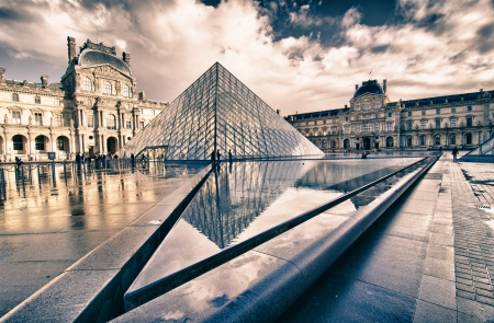 Architectural Structure of Louvre Exterior, France