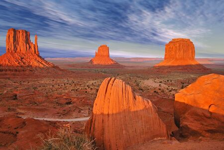 Monument Valley Panorama at Sunset photo