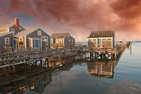 Homes over Water in Nantucket at Sunset, Massachusetts, U.S.A. Stock Photo