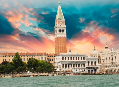 St Marks Square from the Sea in Venice, Italy
