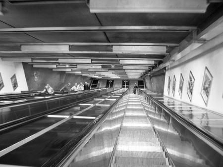 Escalators in Stockholm Subway, Sweden photo
