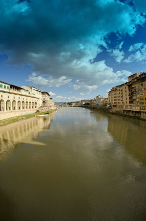 Buildings near Ponte Vecchio in Florence, Italy photo