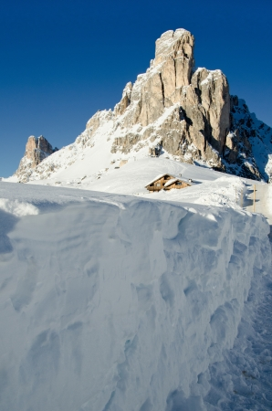 sella: Snowy Landscape of Dolomites Mountains during Winter Season, Italy