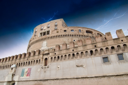 Cloudy Sky over Castel SantAngelo in Rome, Italy