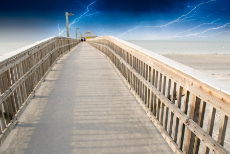myers: Sky Colors over a Pier in Fort Myers, Florida, U.S.A. Stock Photo
