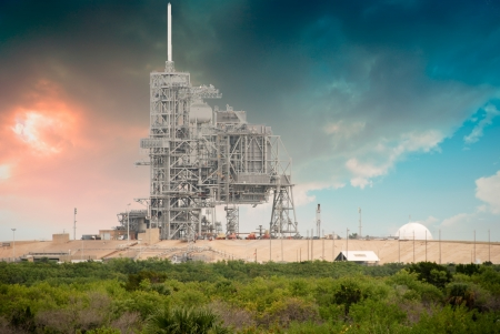 Sky Colors over Space Shuttle Launch Pad in Cape Canaveral Stock Photo