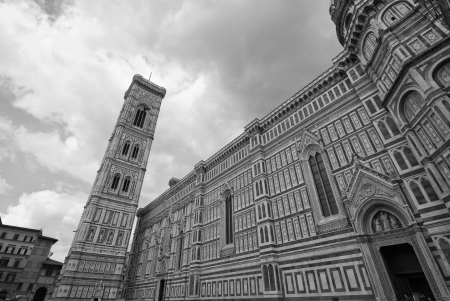 campanile: Architectural Detail of Piazza del Duomo in Florence, Italy