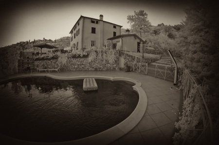agriturismo: Summer at Agriturismo in Tuscany, Italy, Infrared Picture Editorial