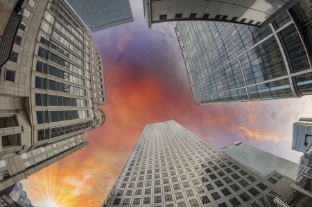 Upward view of Office Buildings. photo