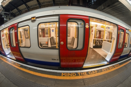Train arriving at subway station in London, UK.