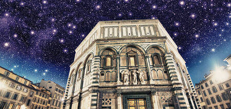 Beautiful night view of Florence Baptistery in Piazza del Duomo. photo