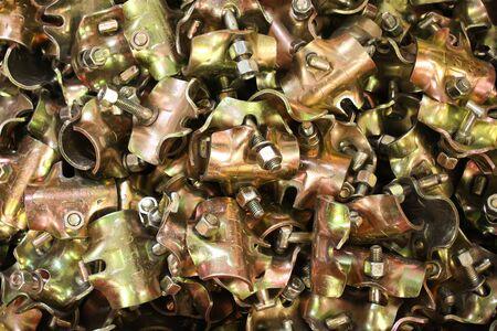 metalware: many supplies of yellow scaffolding galvanized steel
