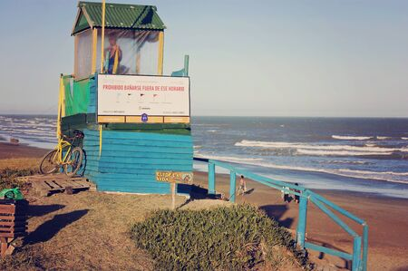 coastal city: A lifeguard station in a  beach at the North of the coastal city of Mar del Plata, Argentina. Editorial