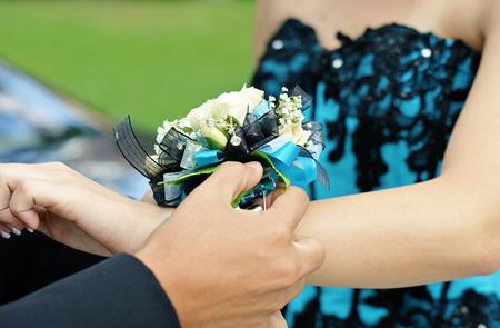 dressy: High school couple getting ready for their Senior Prom 2012.