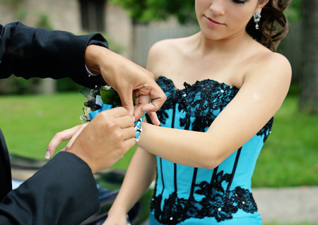 High school couple getting ready for their Senior Prom 2012.