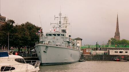 countermeasures: Bristol, UK - July 16, 2016: Minehunter HMS Atherstone moored in the Floating Harbour in Bristol during a visit to the city. HMS Atherstone, a Hunt Class mine countermeasures vessel, was launched in 1986 and has recently returned from a three-year deploym Editorial