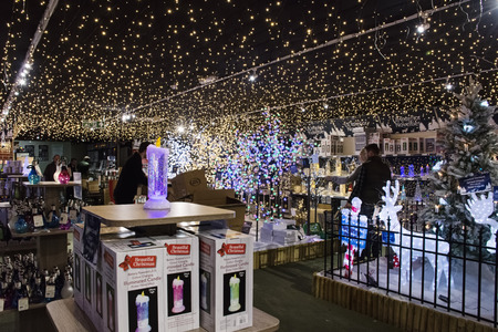 Lacock, UK - November 19, 2016:  Christmas decorations on sale in Whitehall  garden centre