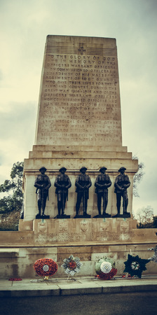 st jamess: London, UK - February 23, 2016: Guards Division Memorial honours dead soldiers of 5 regiments of World Wars - St. Jamess Park, Horse Guards Road, London, UK