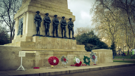 London, UK - February 23, 2016: Guards Division Memorial honours dead soldiers of 5 regiments of World Wars - St. Jamess Park, Horse Guards Road, London, UK