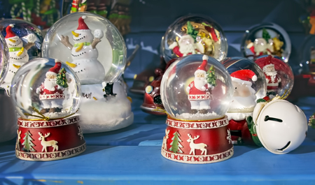 snowdome: Decorations of christmas snow globe with a santa claus and snowman in them