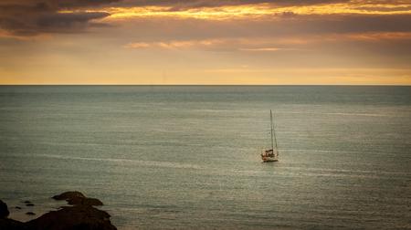 wooden boat in open water in Minehead, Somerset, UK. Stock Photo