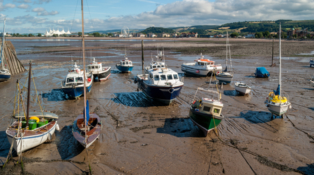 dinghies: Boats in Shingle beach, Minehead, Somerset, UK.