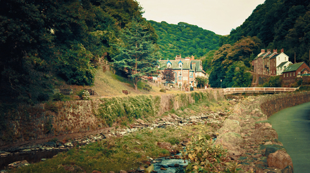 lyn: Lynmouth, UK - July 27, 2016: The River Lyn at Lynmouth North Devon England