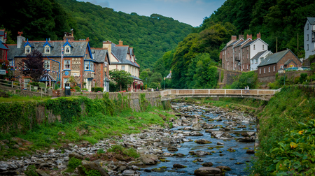 lyn: Lynmouth, UK - July 27, 2016: East Lyn River at Lynmouth