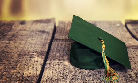 green highschool graduation hat Stock Photo