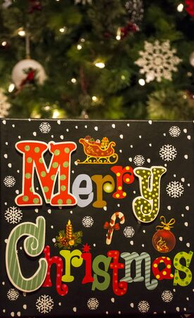 Merry Christmas sign decoration for inside the house . Stock Photo