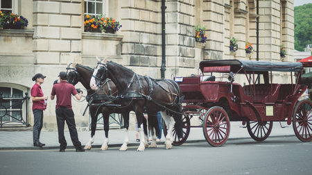 Bath Spa,UK-July 4,  2015: Two horses pulling a carriage in Bath city waiting for the tourist Editorial