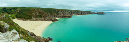 View over Porthcurno Beach, Pedn Vounder beach and Logan Rock  seen from Minack Open Air Theatre; Cornwall; England; UK