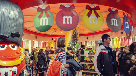 London,  UK - December 21, 2015 : England, London, Leicester Square, M&M Store, With its four floors and approximately 3,250 square meters, this is the largest candy store in the world.