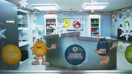 London,  UK - December 21, 2015 : M & Ms Chocolate World in the MIX LAB deployment of M & M chocolate Lab. England, London, Leicester Square, M&M Store, With its four floors and approximately 3,250 square meters, this is the largest candy store in the wo Editorial