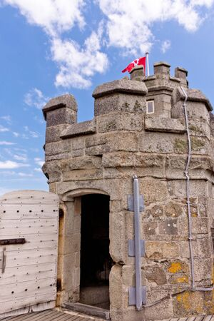 Falmouth, Cornwall, England - July 25, 2018: castle was first commissioned by King Henry VIII in response to invasion threats from the continent. Pendennis was built on the mouth of the River Fal, for