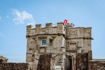 Falmouth, Cornwall, England - July 25, 2018:Pendennis castle was first commissioned by King Henry VIII in response to invasion threats from the continent. Pendennis was built on the mouth of the River