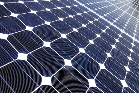 Solar panels in a photovoltaic Power Plant photo