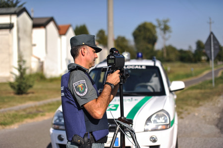man front view: monitoring police Safety Camera