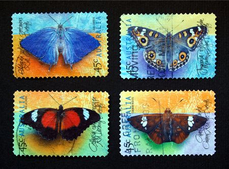 Australian postage stamps with different species of butterflies