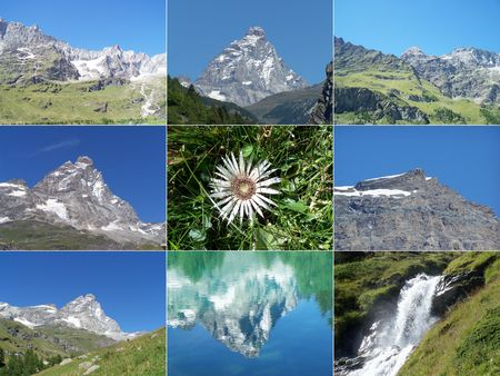 Alps mountains collage with Cervino Matterhorn mountain, waterfalls and Edelweiss flower Stock Photo - 5295008