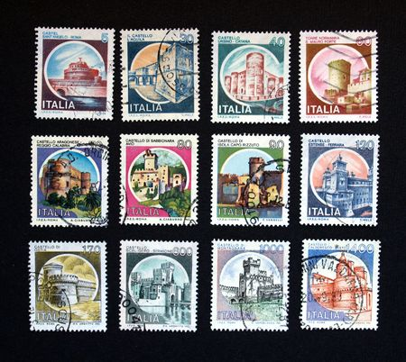 Italian stamp with ancient castles from Italy