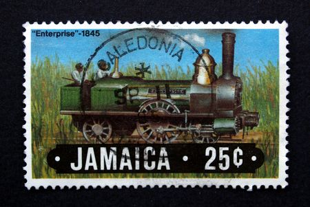 Jamaican postage stamp from Jamaica with trains Stock Photo - 5294942