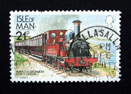 Stamp with train Stock Photo