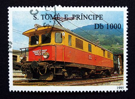 principe: S Tom� y Pr�ncipe sello con el tren en negro