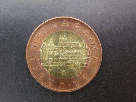 czech republic coin: Czech republic coin with Prague Stock Photo