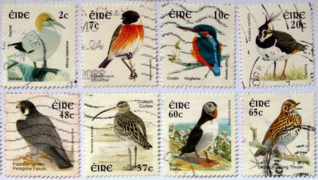puffin: Range of Irish postage stamps with birds