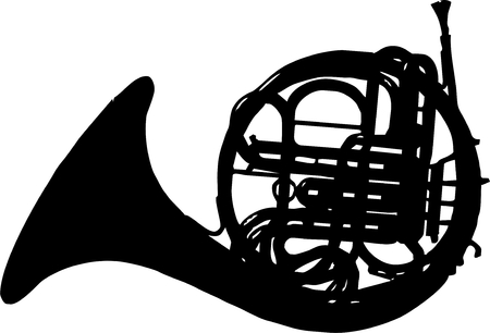 mozart: classical horn isolated vector illustration Illustration