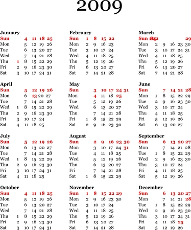 yearly: calendario anual de 2009 - ilustraci�n vectorial  Vectores