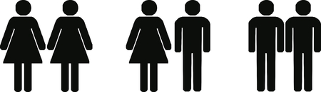 heterosexual, gay and lesbian couples illustration
